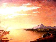 Coucher de soleil sur paysage fantastique