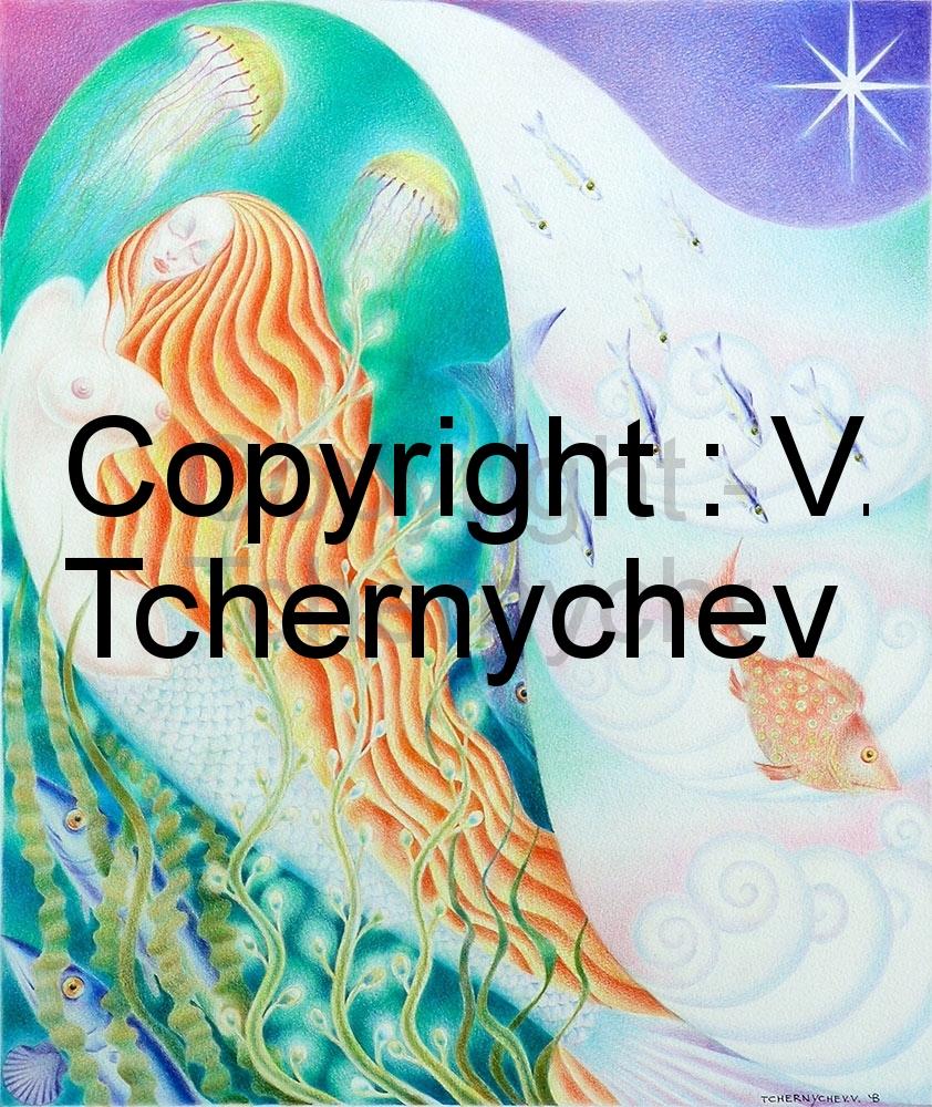 Femme-sirène, poissons et méduses. Yin et Yang, haut et bas. Dessin