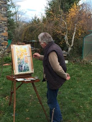 artiste et chevalet, aquarelle