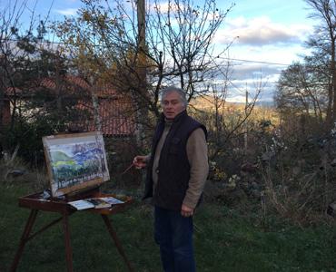 artiste, paysage, aquarelle