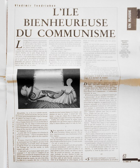Article dans Lettre Internationale
