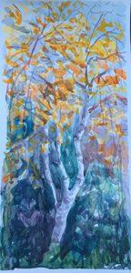 Осенняя листва, акварель
