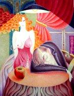 Адамово яблоко, цветной карандаш