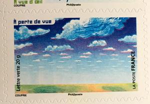 nuages sur timbre Poste