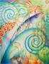 Femme et poisson, sirène et vagues.Les éléments se rejoignent comme dans des effets de miroirs, des jeux de lumière et de mouvement.