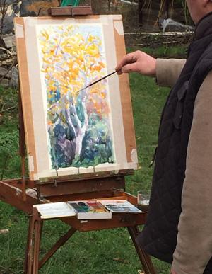 художник, пейзаж,, осень