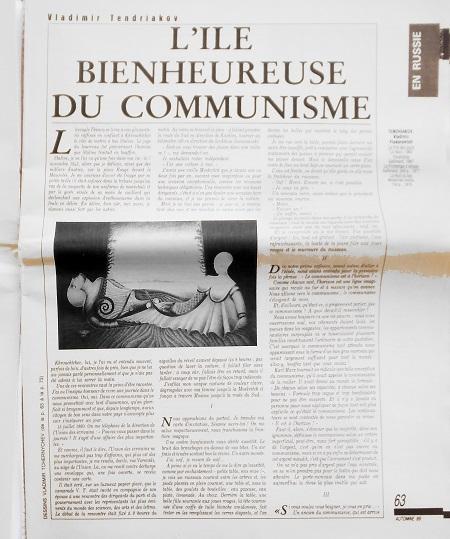 Article dans Lettre Internationale
