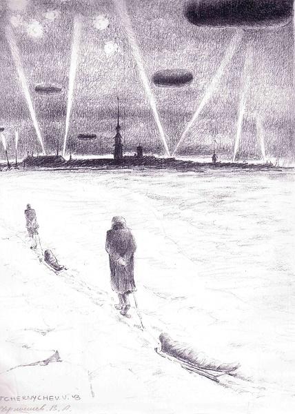 sur la Neva gelée